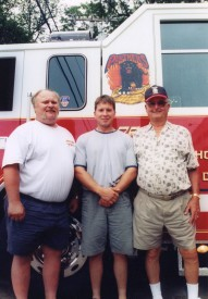 3 Generations of CFD Firefighters l to r: Commissioner & Ex-Chief Joseph Zuhoski Jr., Joseph Zuhoski III, and Joseph Zuhoski Sr.(2003 photo)