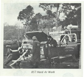 857 drafting from Peconic Bay at a house fire in Mattituck - 1983