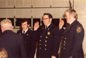 Chiefs swearing in ceremony 1980 l to R: Chief James Fogarty Sr., 1st Asst Chief Fred Kaelin Jr. and 2nd Asst. Chief Everett Glover