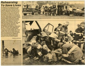 Disaster Drill - 1987 CFD firefighters are pictures bottom right.  Clockwise from left: Firefighters Andrew Fohrkolb, Unknown, Doug Wieczorek, Dale Butler, Tom Martin, Larry Behr, and Victim William Brewer
