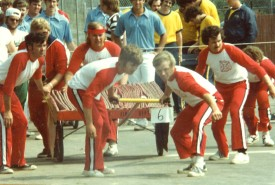 Cart Hose 1980 L to R: Tom Martin, Ted Behr(rear) Joe Zuhoski(rear) David Zuhiski, Dale Butler, Tom Shalvey Jr.