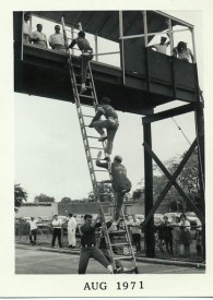 Three man ladder at 1971 Freeport Drill