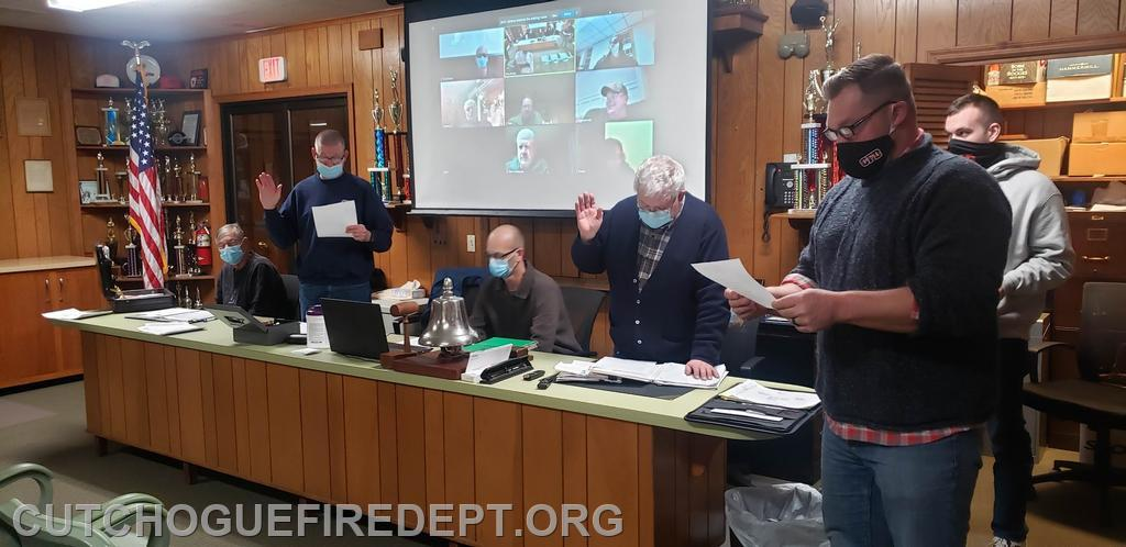 Chief Amos Meringer Swearing in the newly elected Company Officers