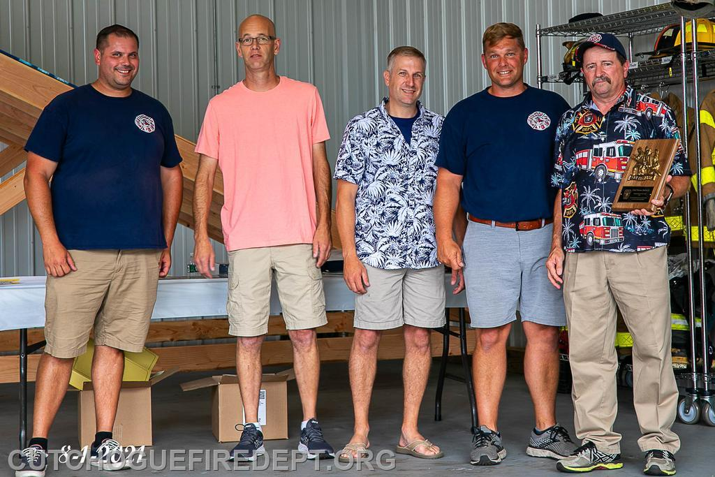 Firefighter of the Year: Ex-Chief Thomas Shalvey Jr.,(far Right) pictured with (l to r)Captain Chris Dinizio, 2nd Asst Chief Chris Voegel, 1st Asst. Chief William Brewer, and Chief Amos Meringer