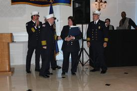 2009 Firefighter of the Year Kathy Hartmann (center)
