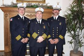 CFD CHIEFS (l to r): 1st Asst. Chief David Fohrkolb, Chief Andrew McCaffery, 2nd Asst. Chief Antone Berkoski