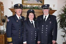 2009 EMS Providers of the Year: (l to r) Ex-Chief Thomas Martin, Paramedics Kathy and Richard Hartmann