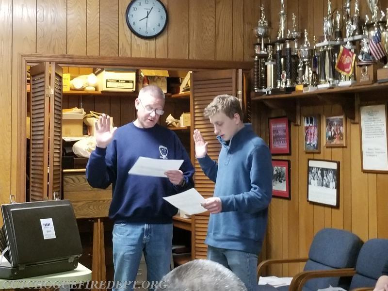 Kacper being sworn in by Chief Behr