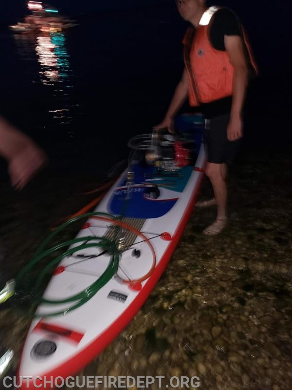 Vehicle Extrication Equipment on a paddleboard