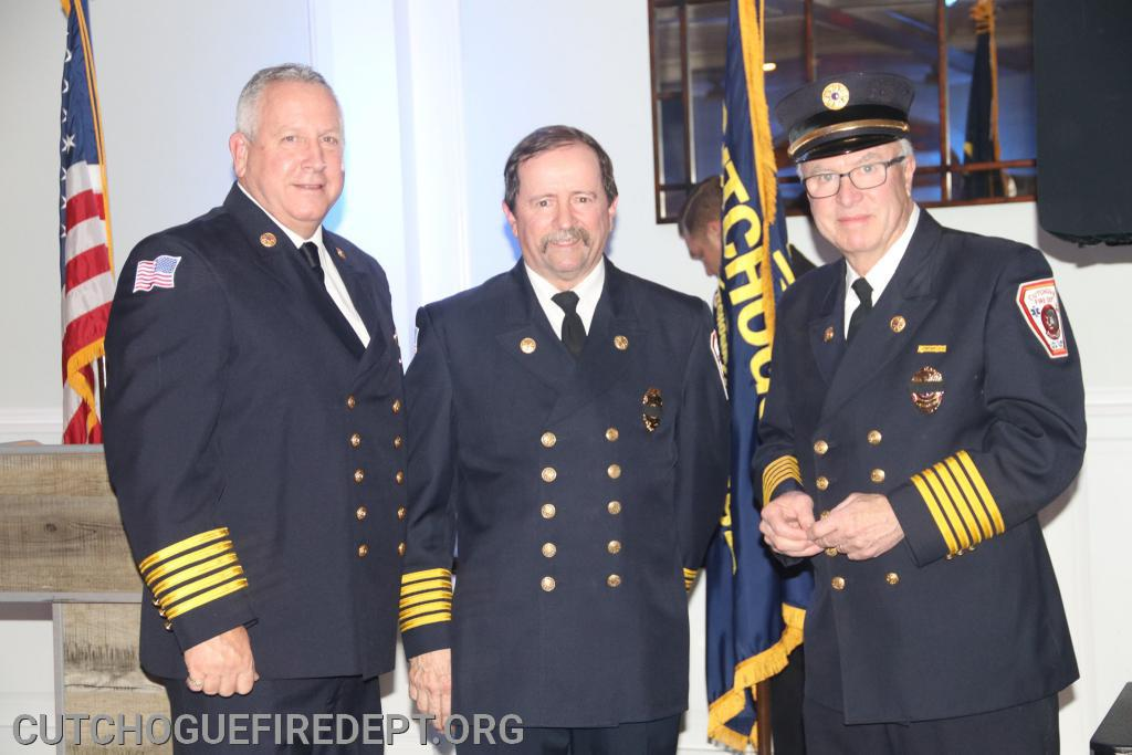 40 year members: Ex-Chief David Blados (L) Ex-Chief Arthur Brewer (r) with Chief Shalvey (c)