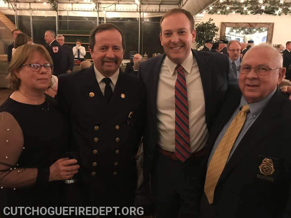 Congressman Lee Zeldin  pictured with Chief Shalvey, his wife Barbara and Commissioner Friemann